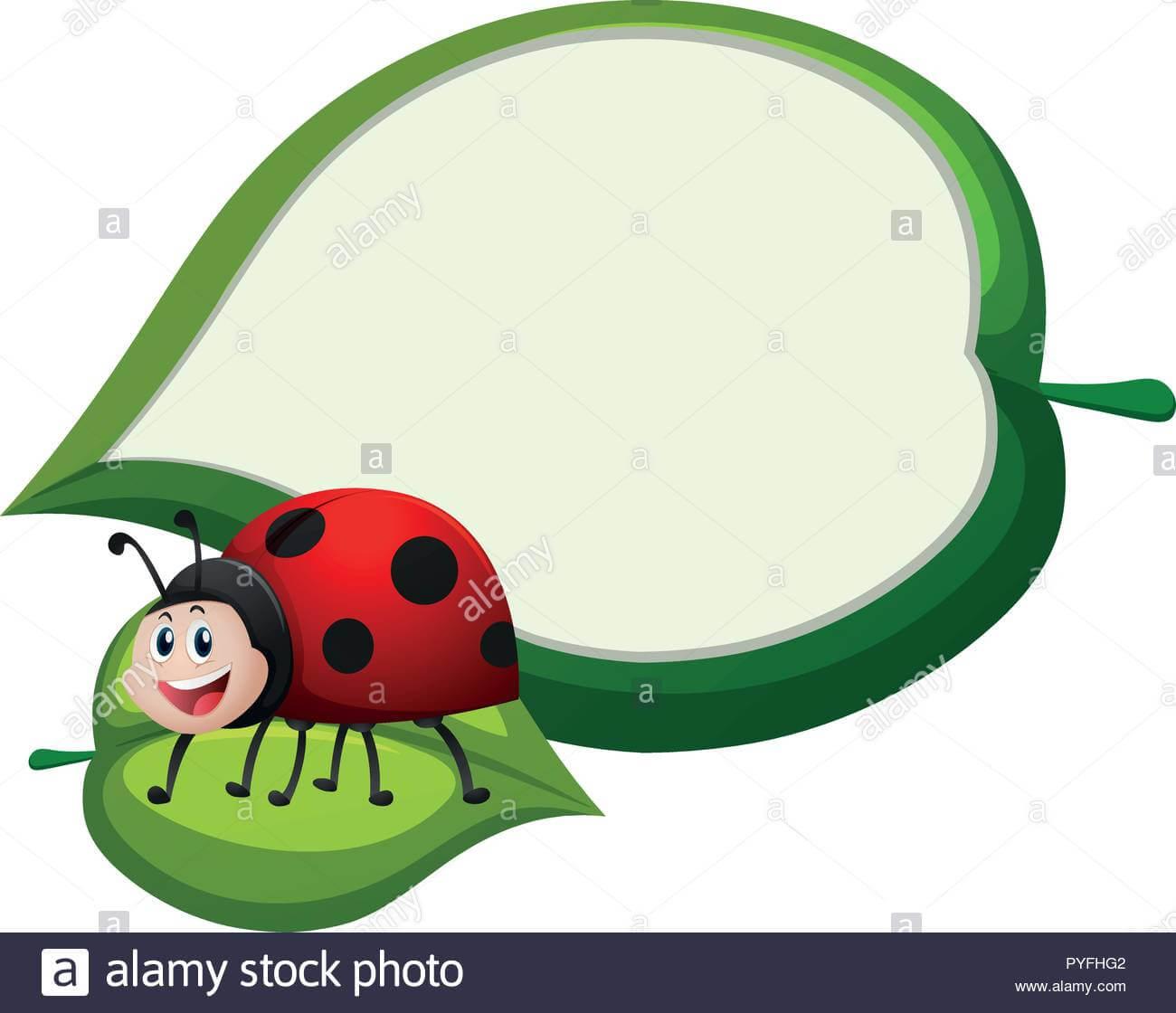 Border Template With Ladybug On Leaf Illustration Stock In Blank Ladybug Template