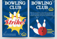 Bowling Brochure Flyer Template Set Vector Illustration pertaining to Bowling Flyers Templates Free