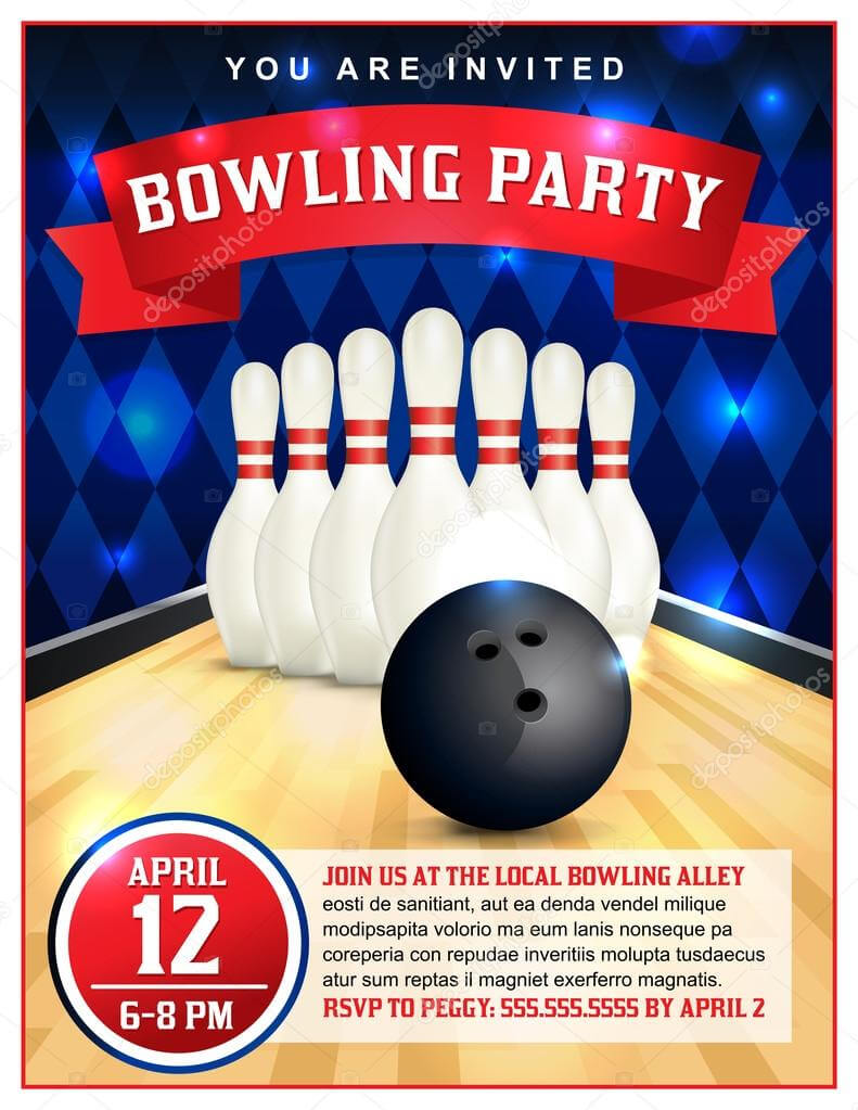 Bowling Party Flyers | Bowling Party Flyer Template Inside Bowling Party Flyer Template