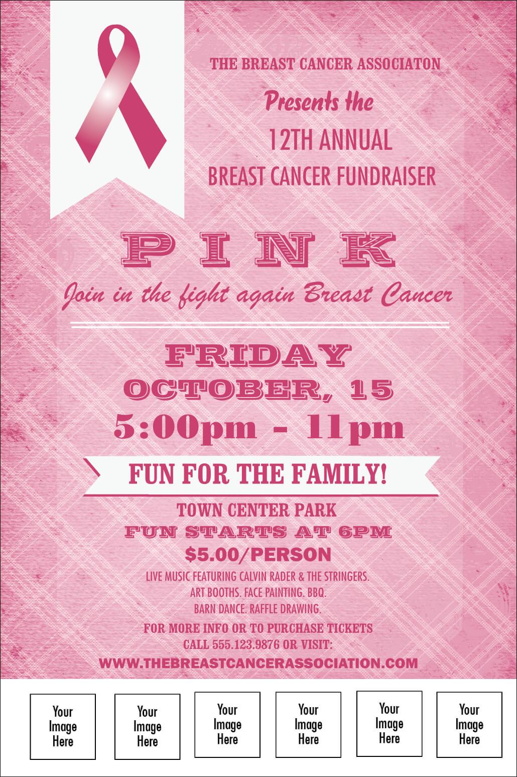 Breast Cancer Awareness Plaid Poster Inside Cancer Fundraiser Flyer Template