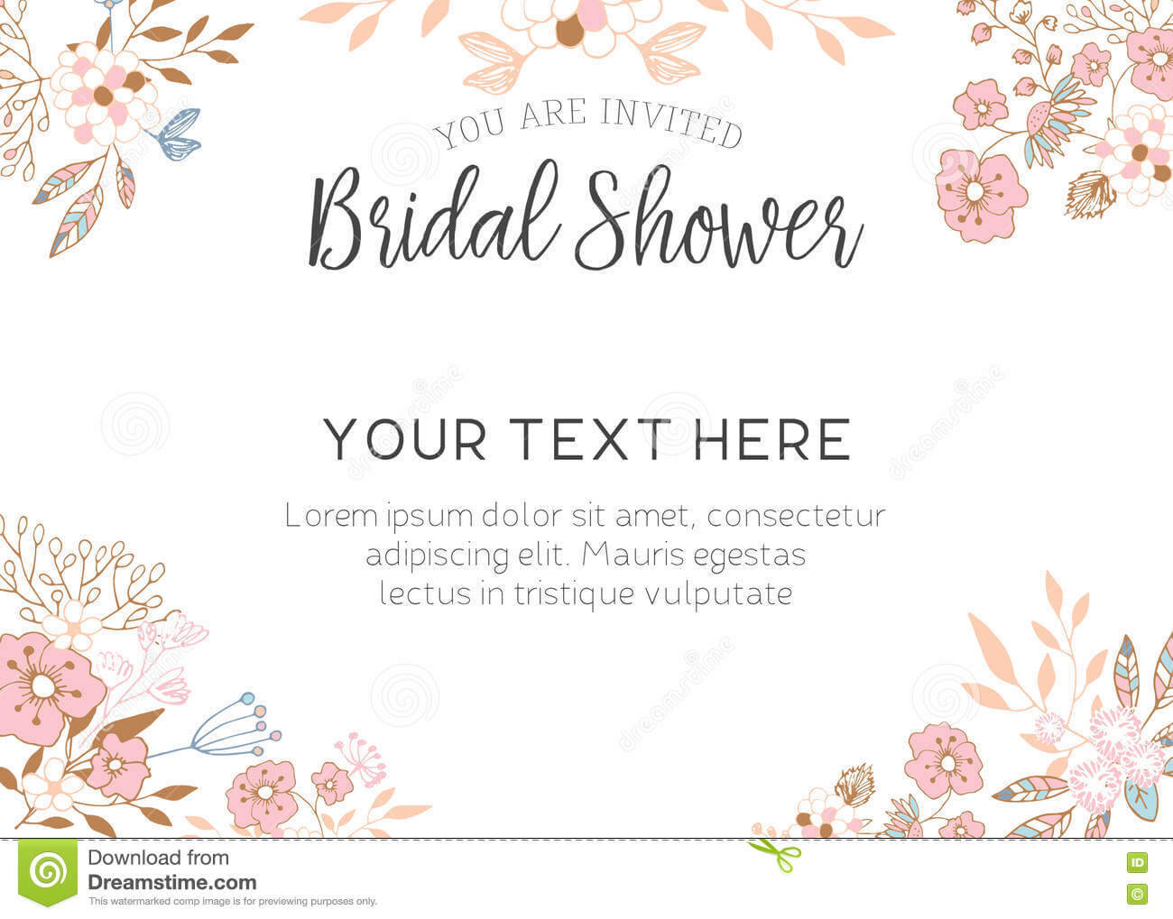 Bridal Shower Invitation Stock Illustration. Illustration Of Intended For Bridal Shower Invite Template