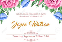 Bridal Shower Invitation Template With Flowers. Vector Illustration.. for Bridal Shower Invite Template