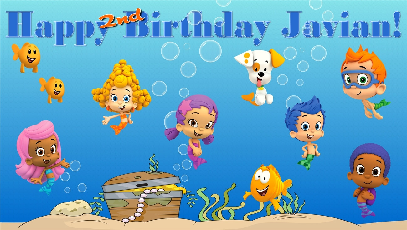 Bubble Guppies  Custom  Personalized Vinyl And 50 Similar Items Inside Bubble Guppies Birthday Banner Template