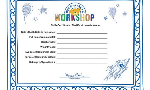 Build A Bear Build A Bear Workshop® Furry  - Spin Master inside Build A Bear Birth Certificate Template