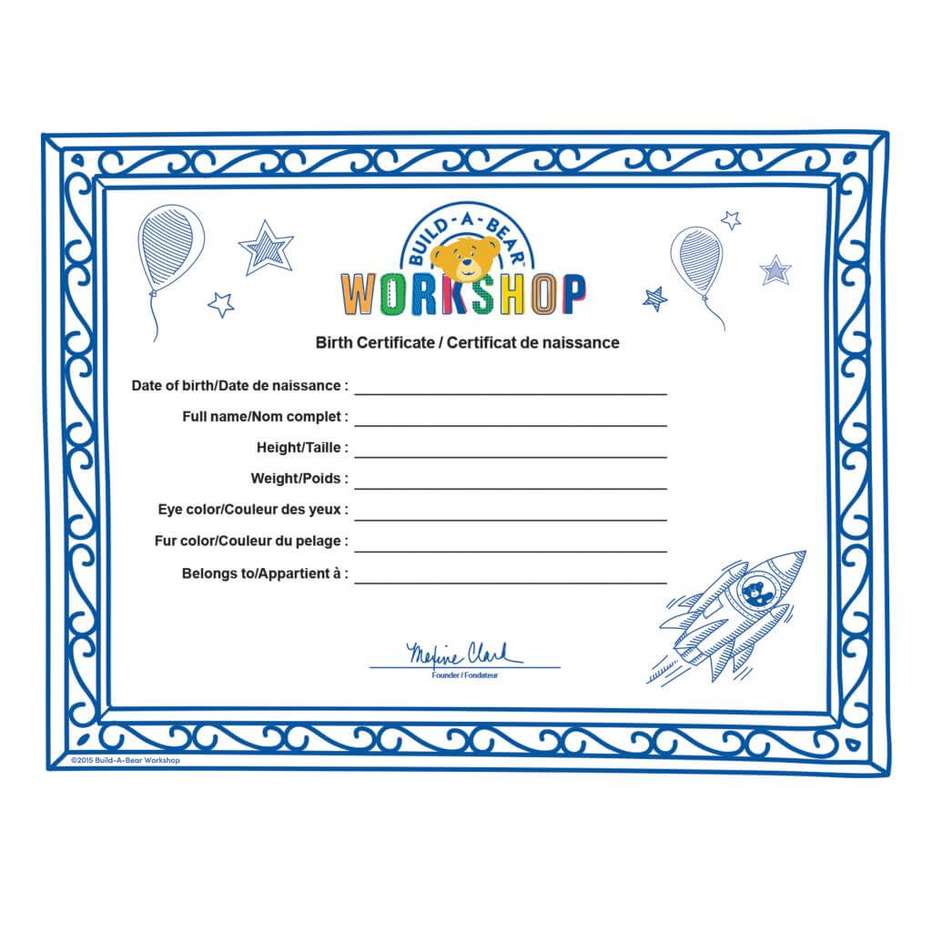 Build A Bear Build A Bear Workshop® Furry  - Spin Master Inside Build A Bear Birth Certificate Template