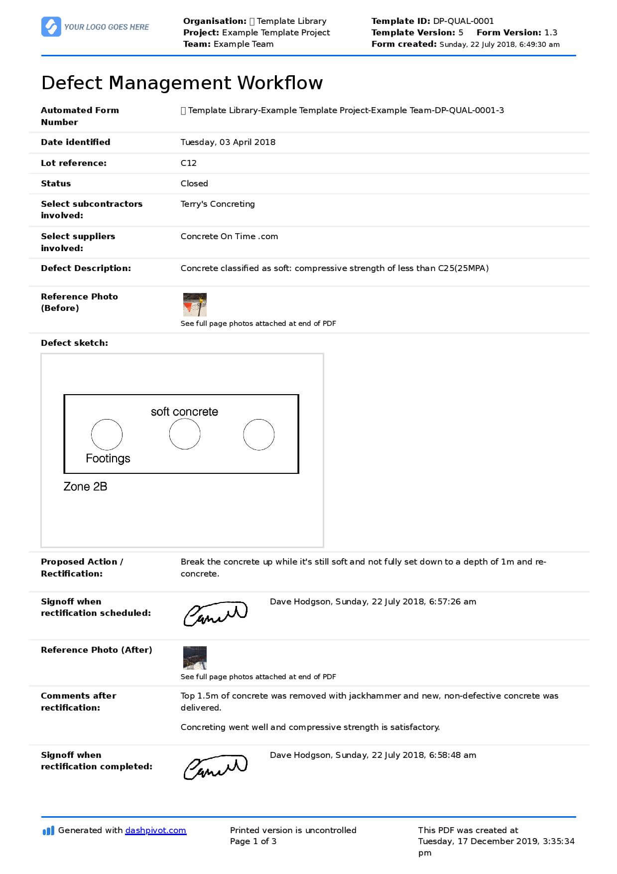 Building Defect Report: Free Sample And Editable Template Pertaining To Building Defect Report Template