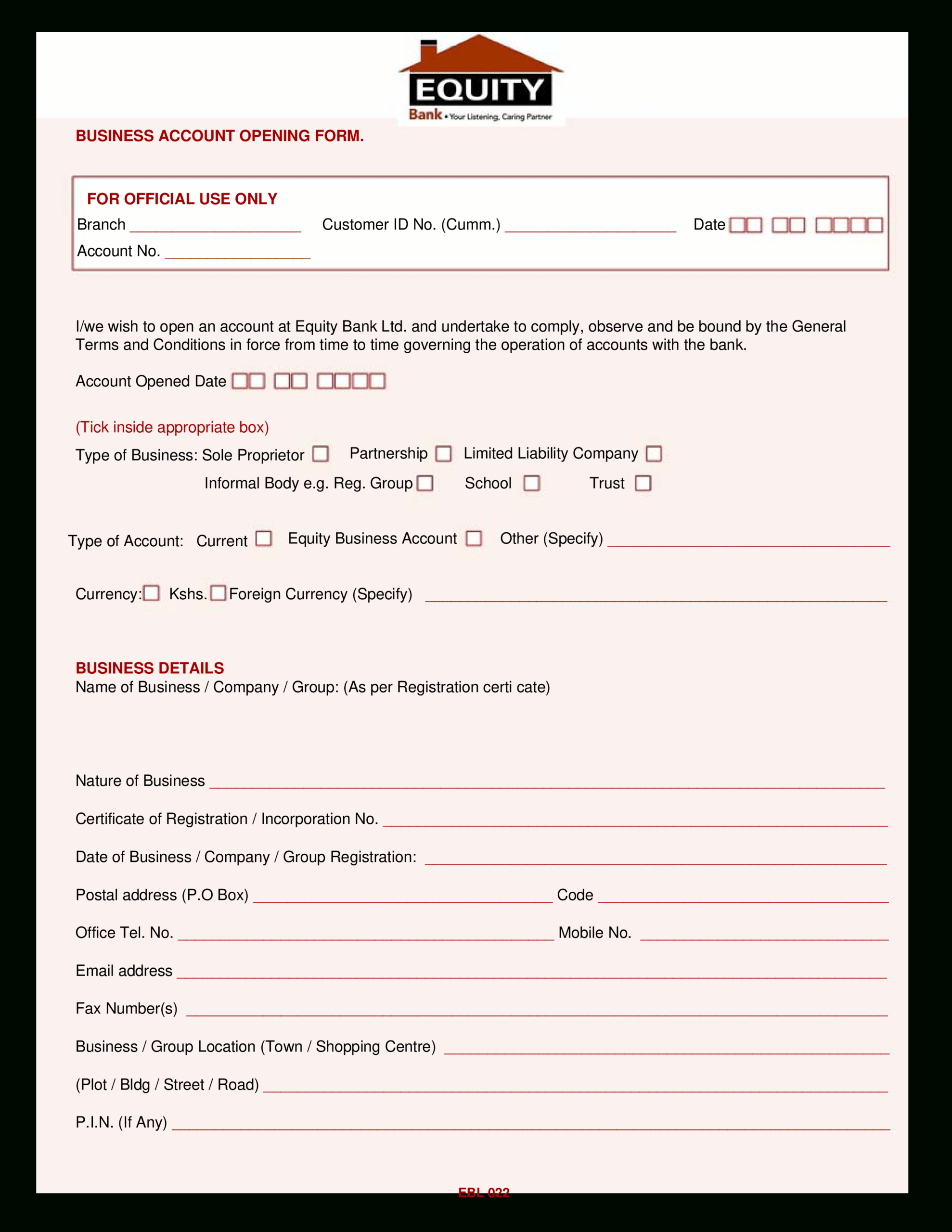 Business Account Form | Templates At Allbusinesstemplates For Business Account Application Form Template