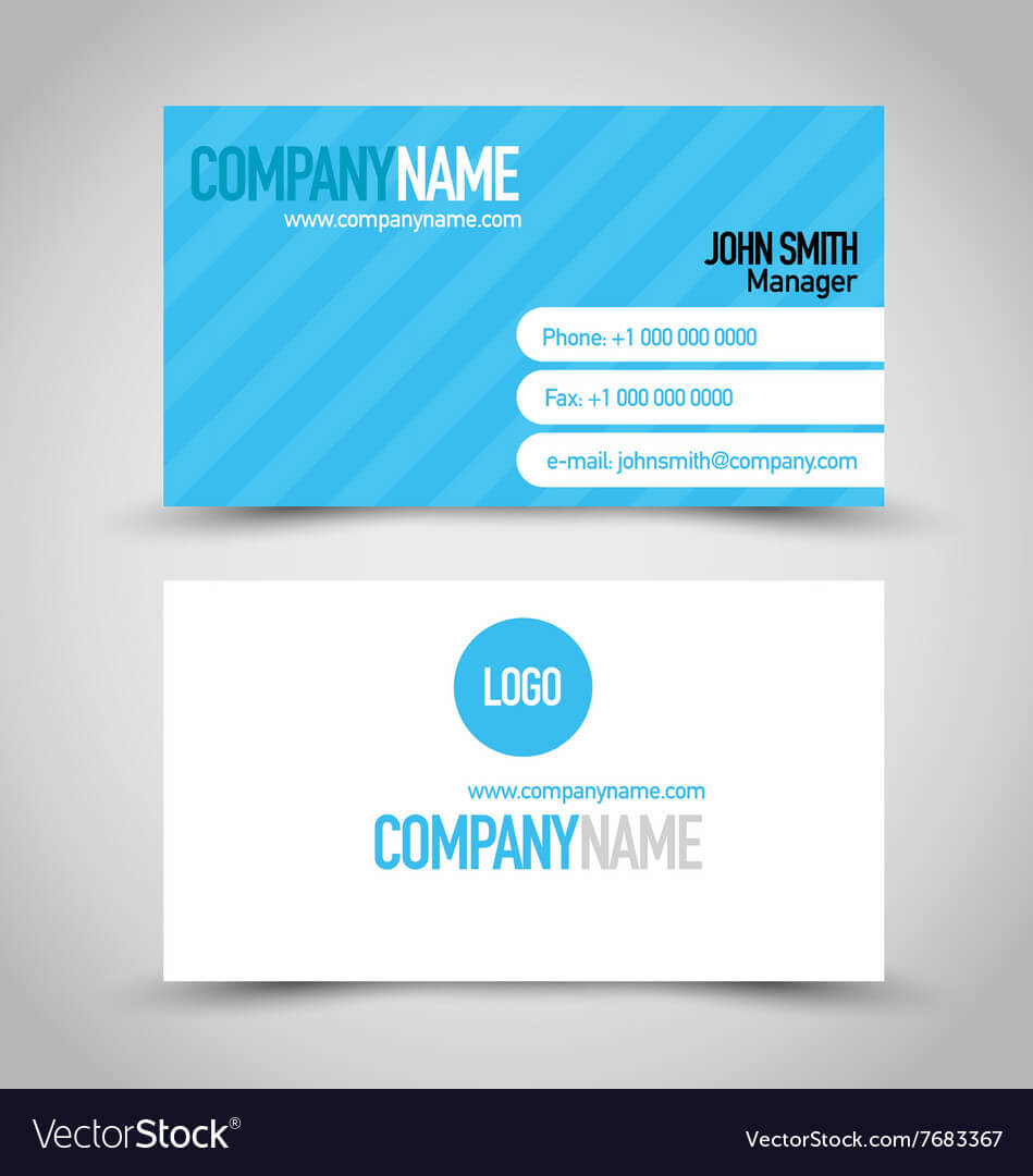 Business Card Set Template Blue And White Color In Calling Card Free Template
