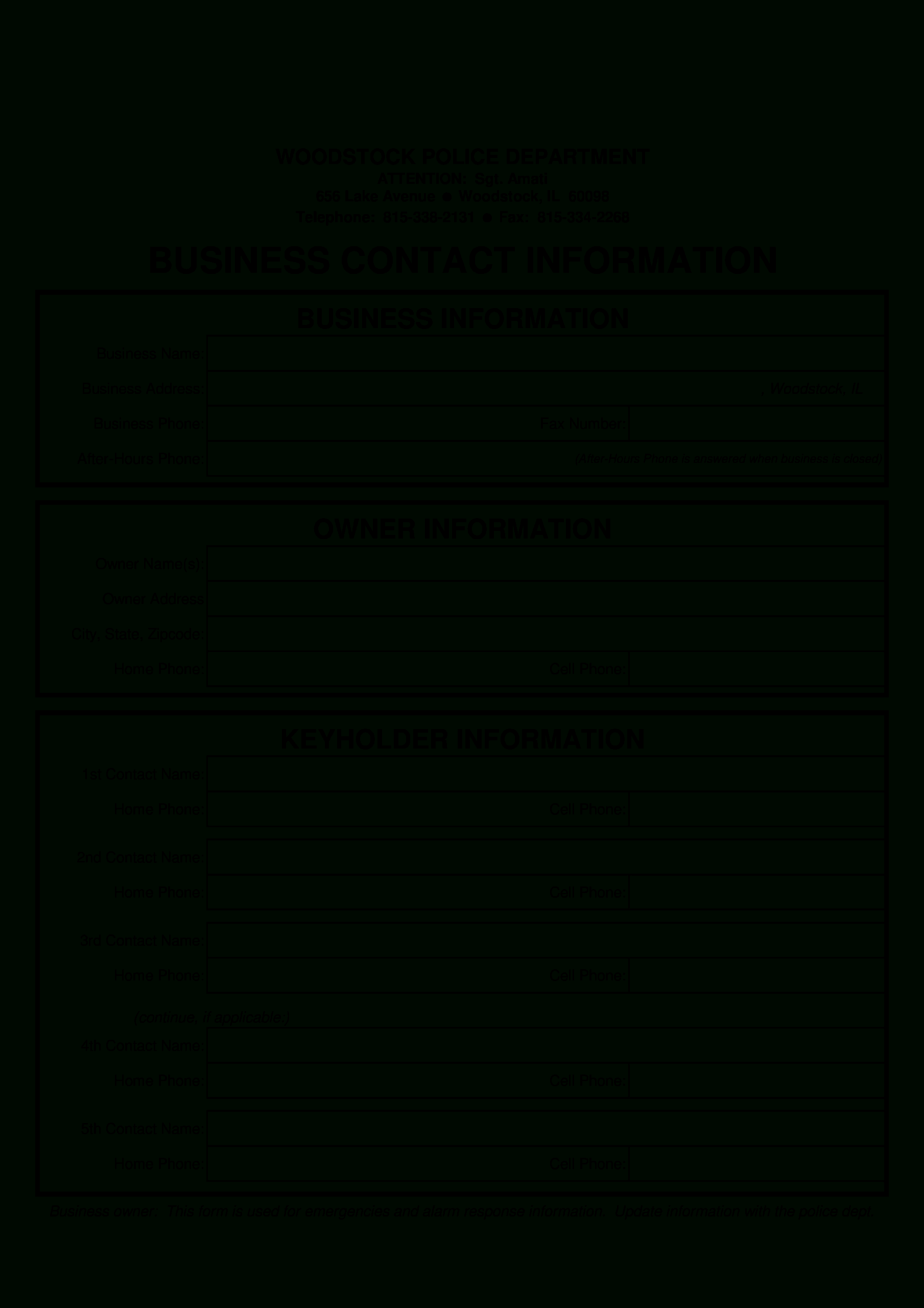 Business Contact Form | Templates At Allbusinesstemplates For Business Information Form Template