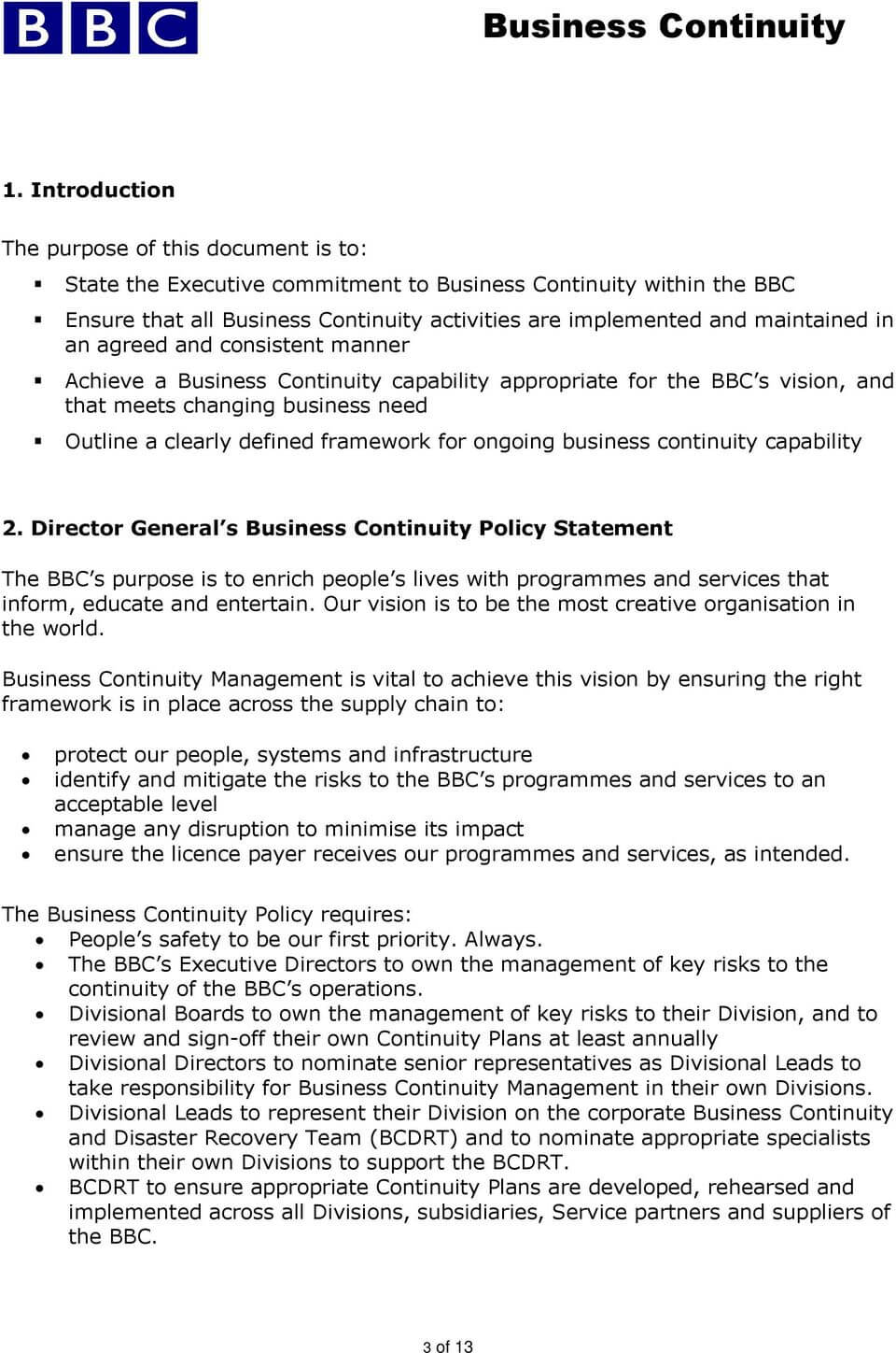 Business Continuity Management Policy - Pdf Free Download Intended For Business Continuity Management Policy Template