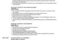 Business Continuity Management Resume Samples | Velvet Jobs inside Business Continuity Management Policy Template