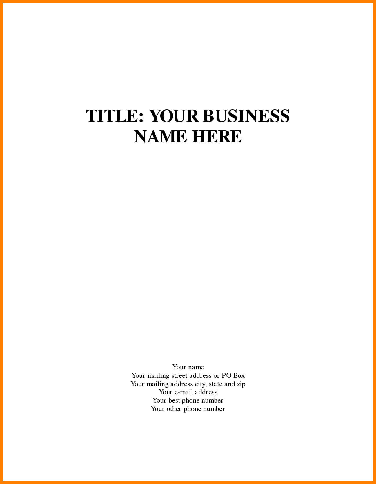 Business Plan Cover Page Te Stark Houseofstrauss Co Word With Regard To Business Plan Title Page Template