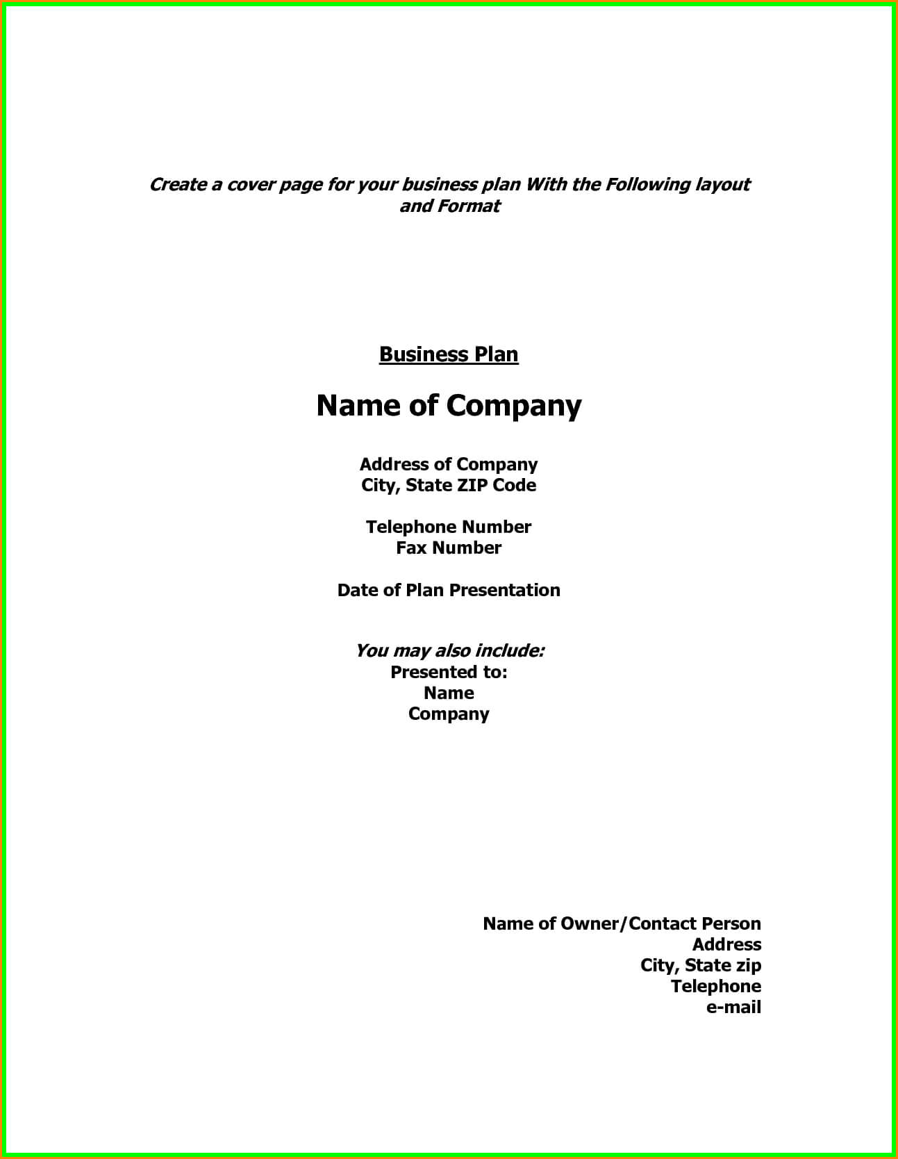 Business Plan R Page Template Doc Example Pdf Word Layout Pertaining To Business Plan Cover Page Template