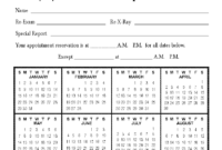 Calendar Appointment Cards within Chiropractic Travel Card Template