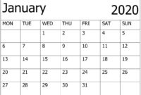 Calendar January 2020 Printable – For Classroom Management pertaining to Blank Calendar Template For Kids