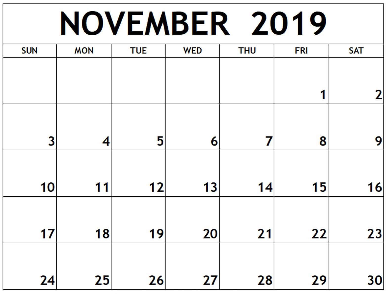 Calendar November 2019 Printable Template – 2019 Calendars In Blank Calendar Template For Kids
