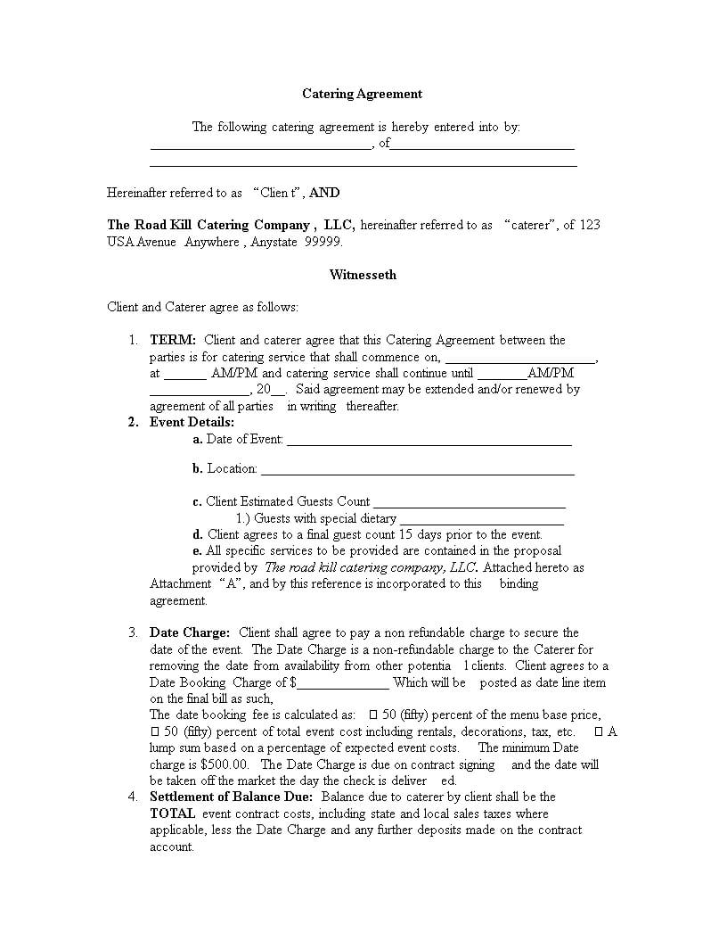 Catering Contract Template | Templates At Within Catering Contract Template Word