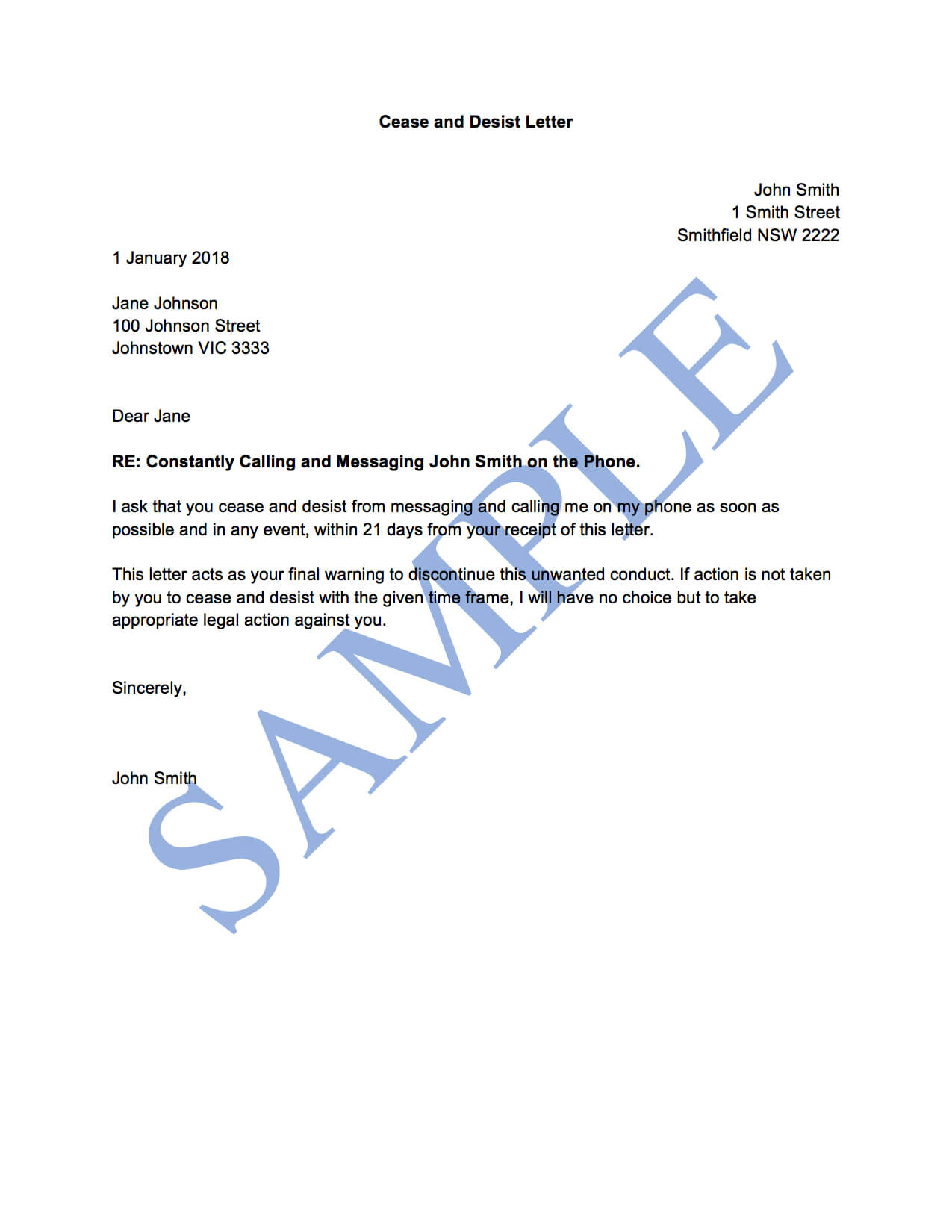 Cease And Desist Letter (General) - Free Template | Sample With Regard To Cease And Desist Letter Template Australia