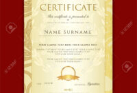 Certificate, Diploma (Golden Design Template, Colorful Background).. for Certificate Scroll Template