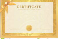 Certificate, Diploma Template. Gold Award Pattern Stock within Certificate Scroll Template