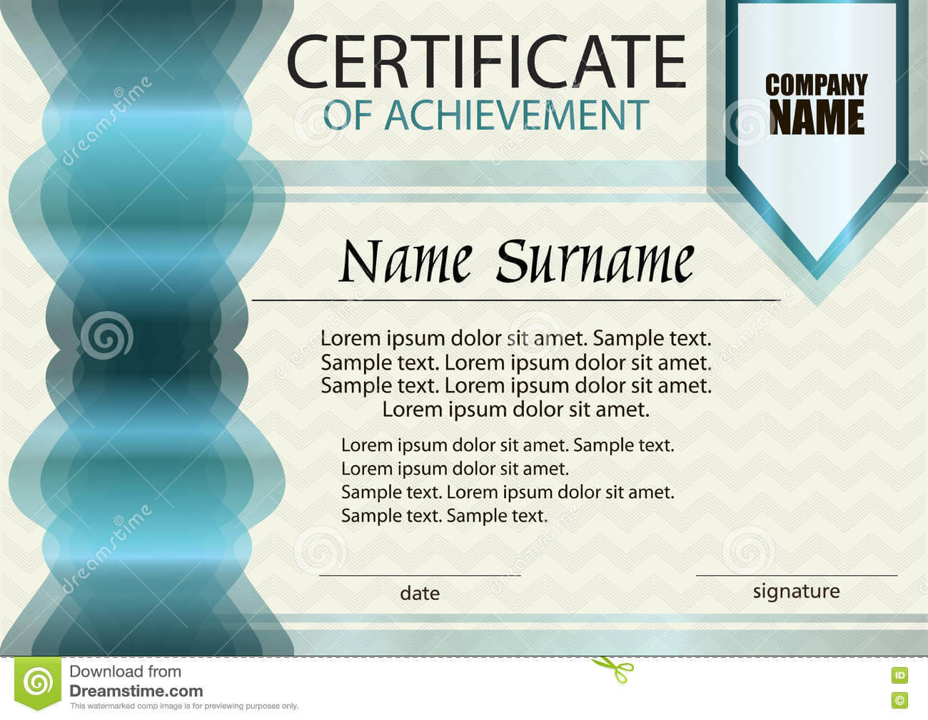 Certificate Of Achievement Or Diploma Template. Stock Vector With Certificate Of Attainment Template