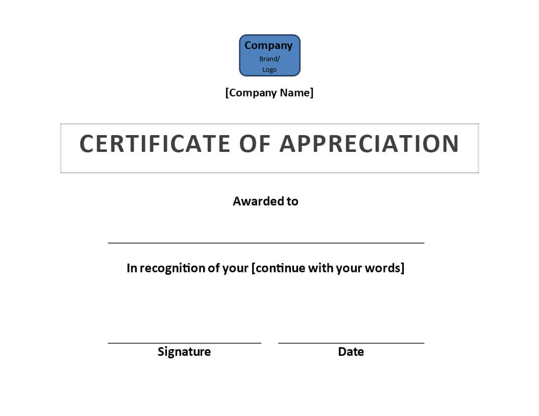 Certificate Of Appreciation | Templates At Allbusinesstemplates Pertaining To Certificate Of Appearance Template