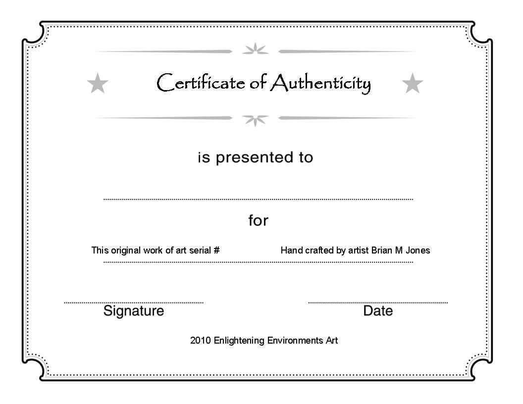 Certificate Of Authenticity Template Art Fine Free For In Certificate Of Authenticity Photography Template