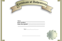 Certificate Of Authenticity Template | Templates At regarding Certificate Of Authenticity Template