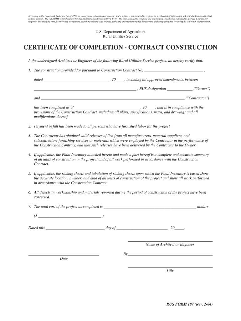 Certificate Of Completion Construction Pdf - Fill Online Throughout Certificate Of Completion Template Construction
