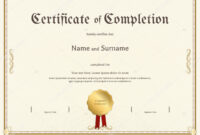 Certificate Of Completion Template In Vintage Theme — Stock with Certification Of Completion Template