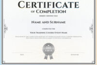 Certificate Of Completion Template inside Certification Of Completion Template