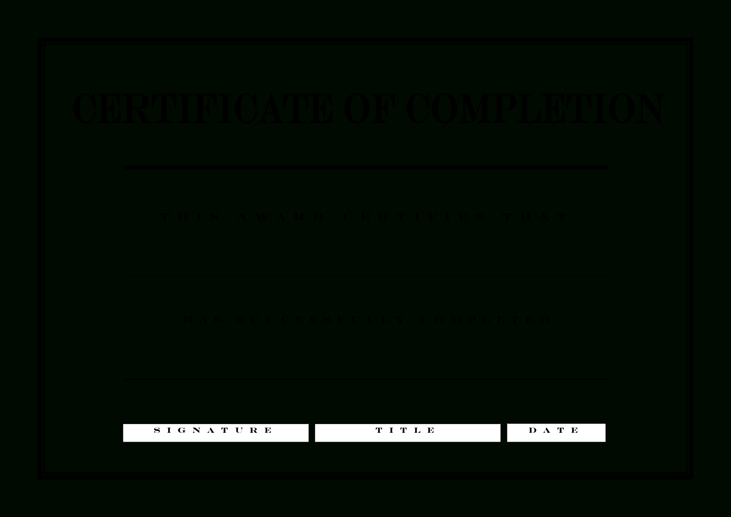 Certificate Of Completion | Templates At Allbusinesstemplates Inside Blank Certificate Of Achievement Template