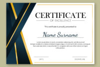 Certificate Of Excellence Template Free Download with Certificate Of Excellence Template Free Download