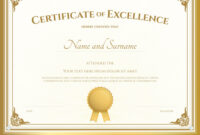 Certificate Of Excellence Template Gold Theme with regard to Certificate Of Excellence Template Free Download