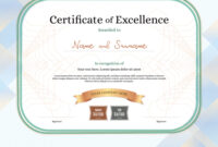 Certificate Of Excellence Template With Award in Award Of Excellence Certificate Template