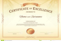 Certificate Of Excellence Template With Award Ribbon On pertaining to Award Of Excellence Certificate Template