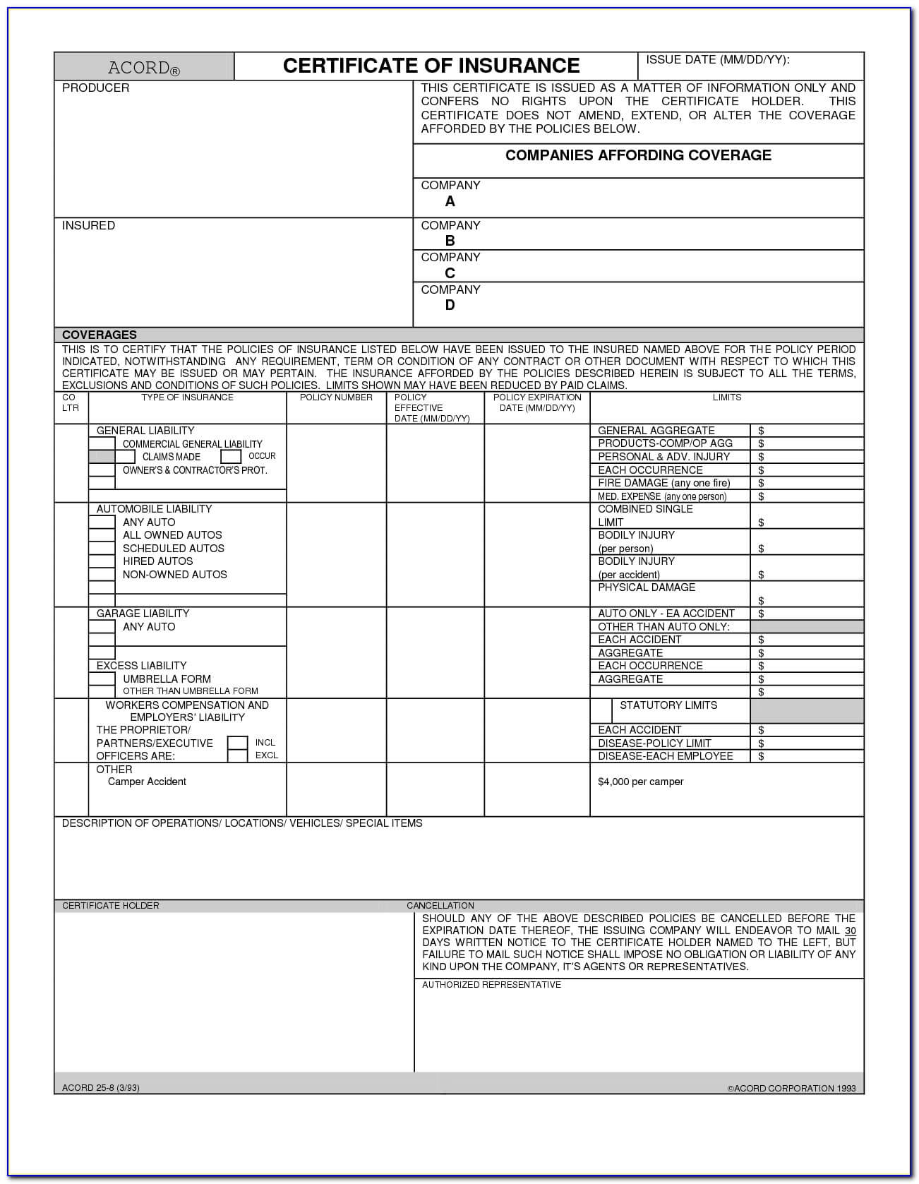 Certificate Of Liability Insurance Form Acord 25 - Form Intended For Acord Insurance Certificate Template