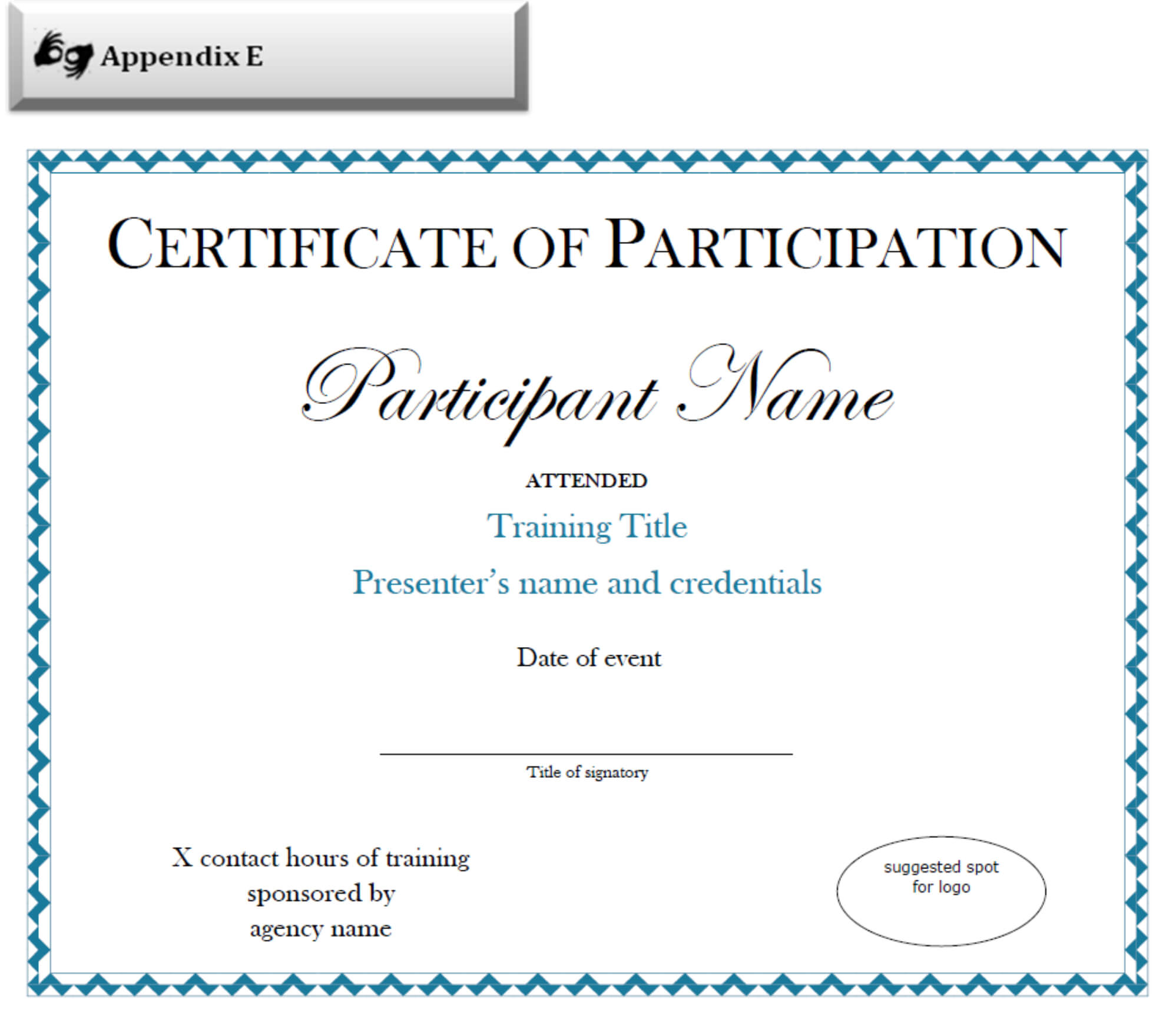 Certificate Of Participation Sample Free Download Pertaining To Certificate Of Participation Template Pdf