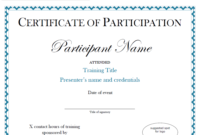 Certificate Of Participation Sample Free Download with regard to Certificate Of Participation In Workshop Template