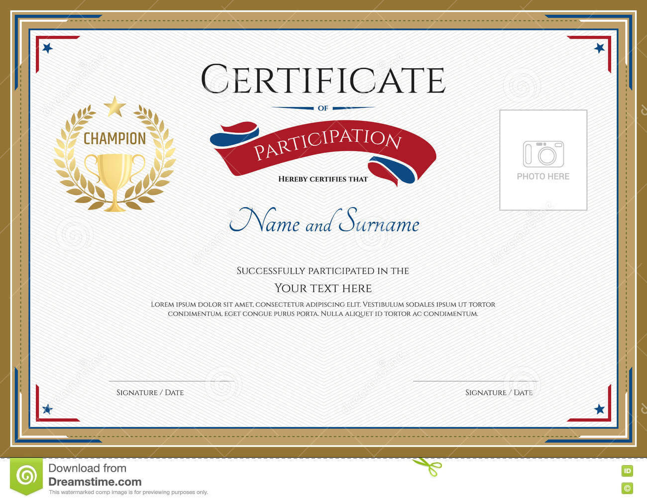 Certificate Of Participation Template In Sport Theme Stock Regarding Certification Of Participation Free Template
