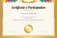 Certificate Of Participation Template intended for Certification Of Participation Free Template