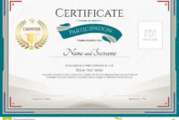 Certificate Of Participation Template With Green Broder within Certificate Of Participation Word Template