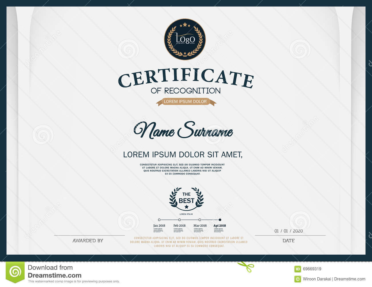 Certificate Of Recognition Frame Design Template Layout Throughout Certificate Template Size