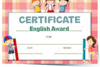Certificate Template For English Award With Many Kids Stock within Certificate Of Achievement Template For Kids