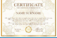Certificate Template. Gold Border With Guilloche Pattern within Certificate Of Authenticity Template