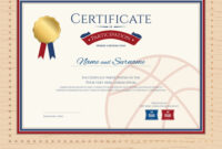 Certificate Template In Basketball Sport Theme Vector Image inside Basketball Camp Certificate Template