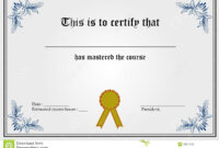 Certificate Template Stock Vector. Illustration Of Gold in Blank Share Certificate Template Free