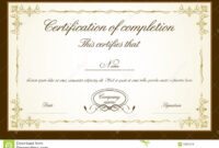 Certificate Template Stock Vector. Illustration Of with Blank Share Certificate Template Free
