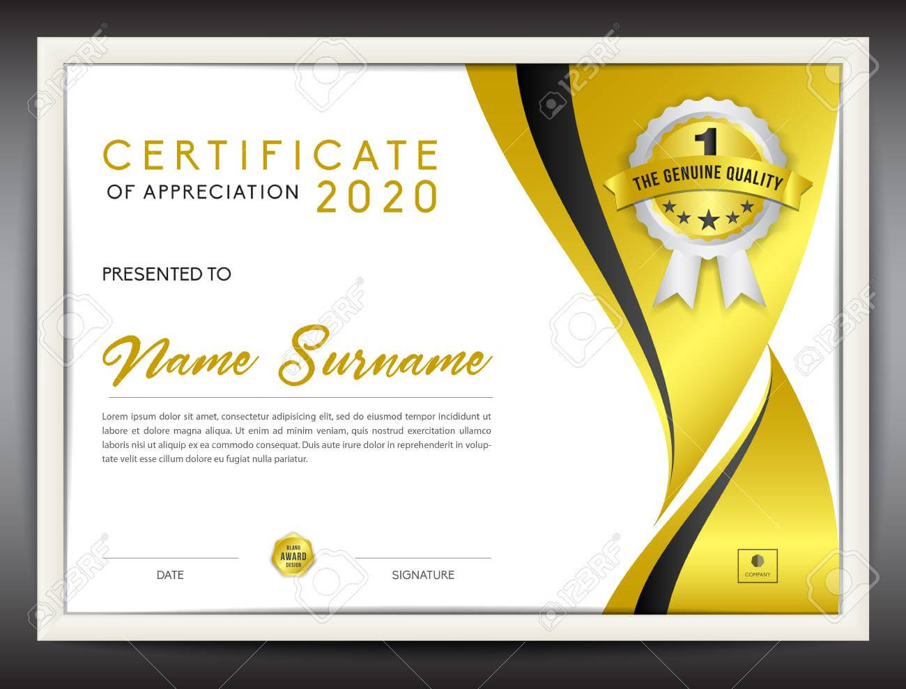 Certificate Template Vector Illustration, Diploma Layout In A4.. Throughout Certificate Template Size