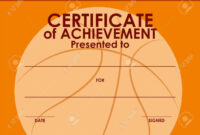 Certificate Template With Basketball Background Illustration throughout Basketball Certificate Template